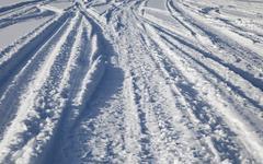 Tracks on snow Stock Photos