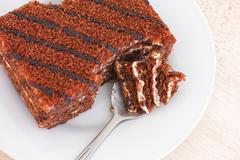Delicious chocolate cake on a plate. Close up. Stock Photos