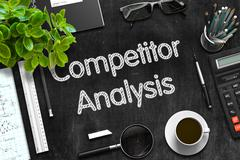 Black Chalkboard with Competitor Analysis. 3D Rendering Stock Illustration