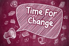 Time For Change - Cartoon Illustration on Red Chalkboard Stock Illustration