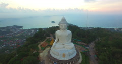 Aerial view can see Pu island behind big Buddha Stock Footage