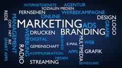 Marketing, branding word tag cloud - blue, German variant Stock Footage