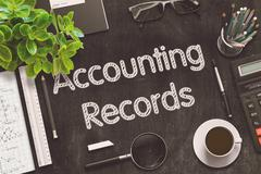 Black Chalkboard with Accounting Records. 3D Rendering Stock Illustration