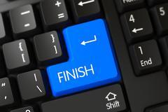 Blue Finish Keypad on Keyboard. 3D Stock Illustration