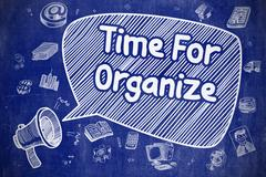 Time For Organize - Cartoon Illustration on Blue Chalkboard Stock Illustration