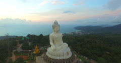 Aerial view left hand side of Big Buddha in Phuket island Stock Footage