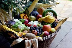 Basket of organic food vegetables Stock Photos