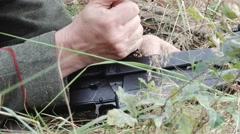 Detail soldier loads PTRS anti tank rifle Stock Footage