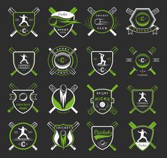 Set Cricket Badges Stock Illustration