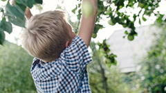 Boy Eating Sour Apple Stock Footage