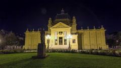 Art pavillion in Zagreb night timelapse hyperlapse. Croatia Stock Footage