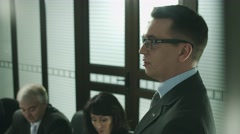 Promising a top manager of the bank. Member of Court of directors Stock Footage