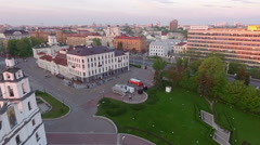 Fly over the beautiful european city on a suny day Stock Footage