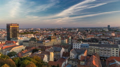 Panorama of the city center timelapse, Zagreb capitol of Croatia, with mail Stock Footage