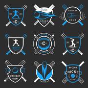 Set of Vector Badges Cricket Stock Illustration
