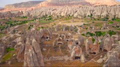Aerial view of fairy chimneys from Urgup, Stock Footage