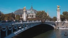Famous Bridge over River Seine - Pont Alexandre III Stock Footage