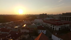 Fly over an european town under the unset Stock Footage