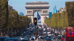 Champs Elysee and Arc de Triomphe Stock Footage