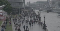 Tourists Walking on Southbank - London, England - 4K Stock Footage