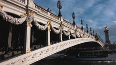 Amazing Bridge over River Seine in Paris - Pont Alexandre 3 Stock Footage