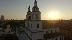 Beautiful church under the gorgeous sunset, aerial view Stock Footage
