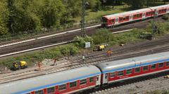 Rail tracks in depot. Stock Photos