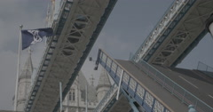 Tower Bridge Draw Bridge Open / London, England - 4K Stock Footage