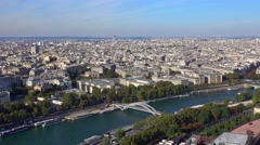 The River Seine in Paris - amazing aerial view Stock Footage