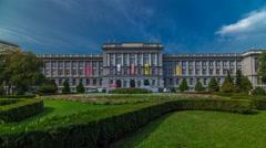 Mimara museum and public park in Zagreb timelapse hyperlapse, Croatia Stock Footage