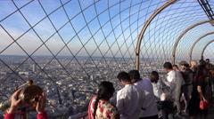 Viewing platform on Eiffel Tower in Paris Stock Footage