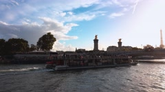 Sightseeing Cruise on River Seine in Paris Stock Footage