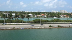 MIAMI,FLORIDA,USA-MAY 2015. Parallel view of highway  I 95 from the sea side 4K. Stock Footage