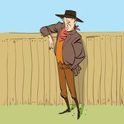 Cowboy in full figure standing near a fence Stock Illustration