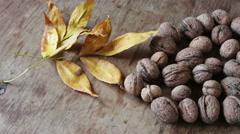 Ripe walnuts in a peel Stock Footage