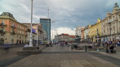 Central city square Trg bana Jelacica timelapse hyperlapse and Ban Jelacic Stock Footage