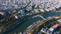 River Seine in Paris - beautiful aerial shot on a sunny day Stock Footage