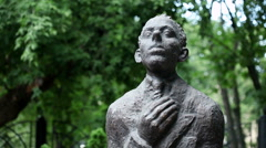 The monument to poet Osip Mandelstam located in Voronezh, Russia. June 2013. HD Stock Footage