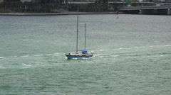 MIAMI,FLORIDA,USA-MAY 2015.Small yacht going out of Port of Miami 4K Stock Footage