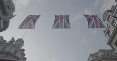British flags on Regent Street / London, England - 4K Stock Footage