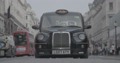 Black Taxi Cab on Regent Street / London, England - 4K Stock Footage