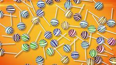 Lollipops. Candy on stick with twisted design. 3d rendering. Stock Illustration