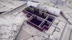 3d rendering of Architect workplace. Architectural project, blueprints, bluep Piirros