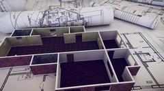 3d rendering of Architect workplace. Architectural project, blueprints, bluep Stock Illustration