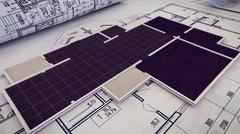3d rendering of  Architectural project, blueprints, blueprint rolls on plans. Piirros
