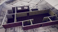 3d rendering of House is building on blueprints. Stock Illustration