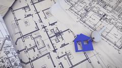 3d rendering of  House Key on a blueprints. Stock Illustration