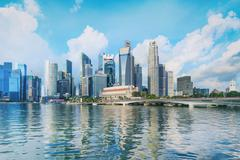 Central Singapore skyline. Financial towers and Esplanade drive bridge Stock Photos