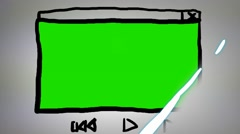 Video Player - Hand drawn - Animation - outline - White Background Stock Footage