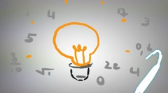 Light Bulb Idea - Hand drawn - Animation - outline - White Background Stock Footage
